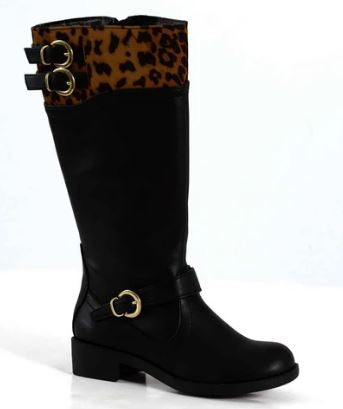 Youth Girls Dress Boots : BLK/CHEETAH