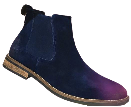 Mens Chelsea Leather Suede Boots : Navy