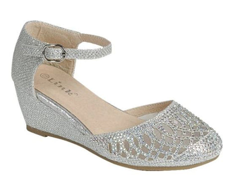 Girls wedge Dress shoes_ Silver