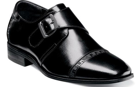 Stacy Adams Boys Monk Strap Dress Shoes Blk