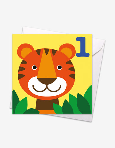 Age 1 Tiger Birthday Card