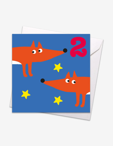 Age 2 Foxes Birthday Card
