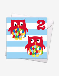 Age 2 Owl Birthday Card