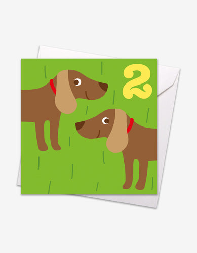 Age 2 Sausage Dog Birthday Card