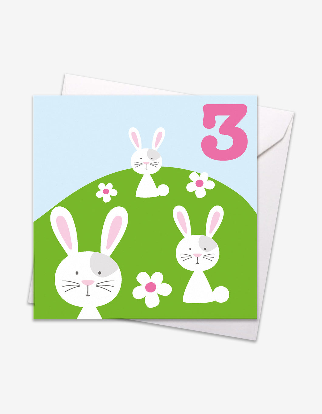 Age 3 Bunnies Birthday Card