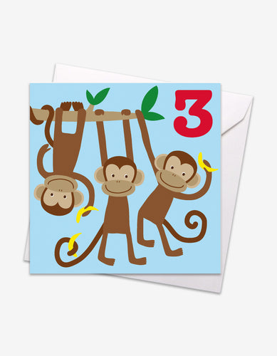 Age 3 Monkeys Birthday Card