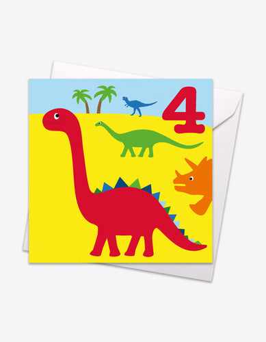 Age 4 Dinos Birthday Card