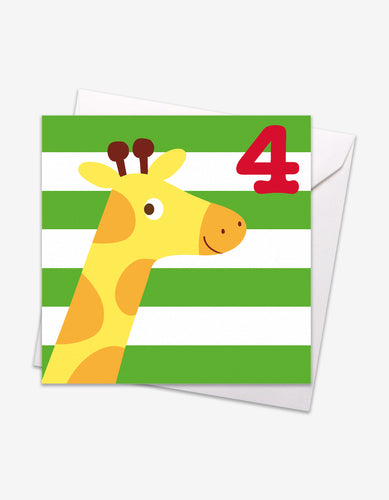 Age 4 Giraffe Birthday Card