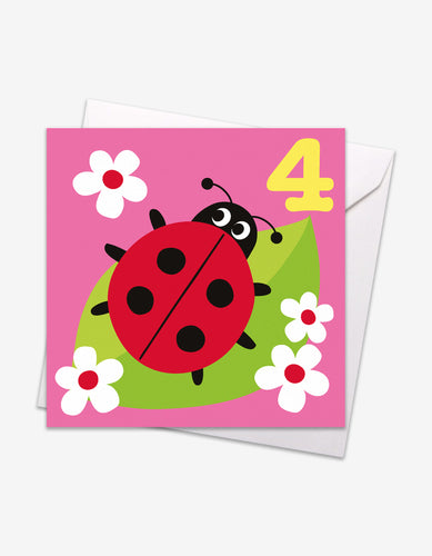 Age 4 Ladybird Birthday Card