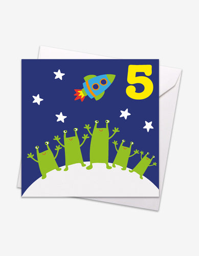 Age 5 Aliens Birthday Card