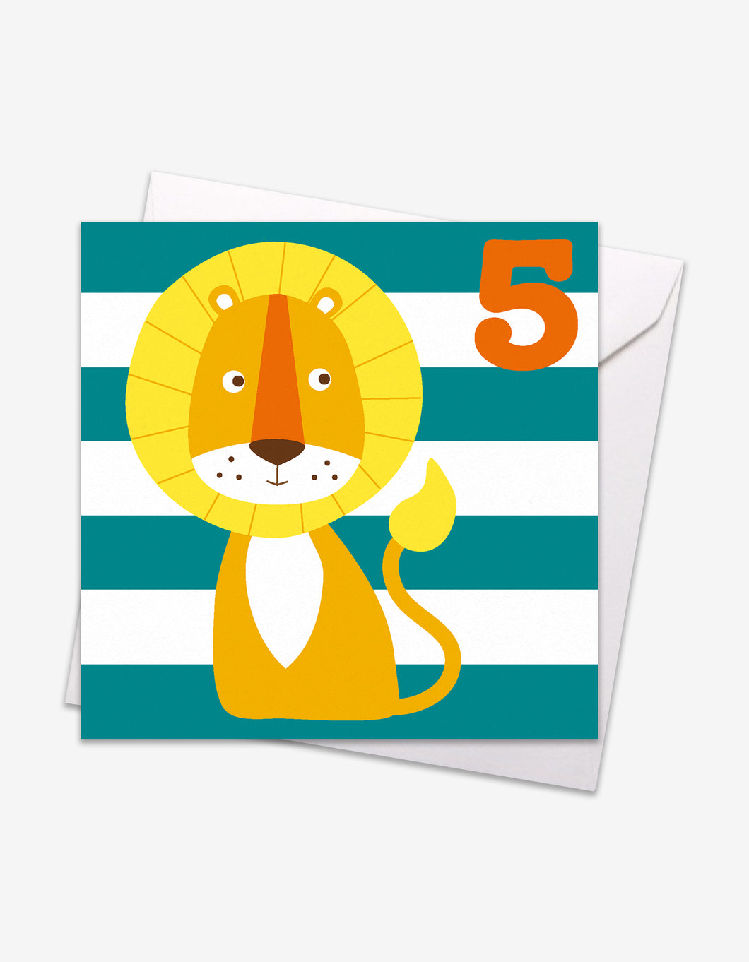 Age 5 Lion Birthday Card