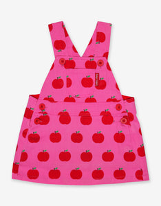 Apple Print Twill Dungaree Dress