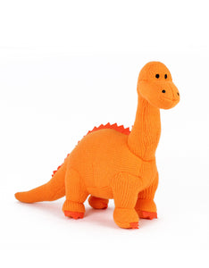 Medium Knitted Orange Diplodocus Soft Toy