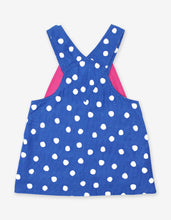Load image into Gallery viewer, Blue Dot Corduroy Dungaree Dress