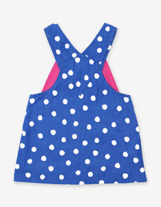Blue Dot Corduroy Dungaree Dress