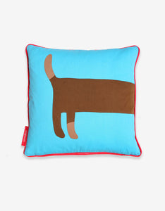 Blue Sausage Dog Cushion Cover