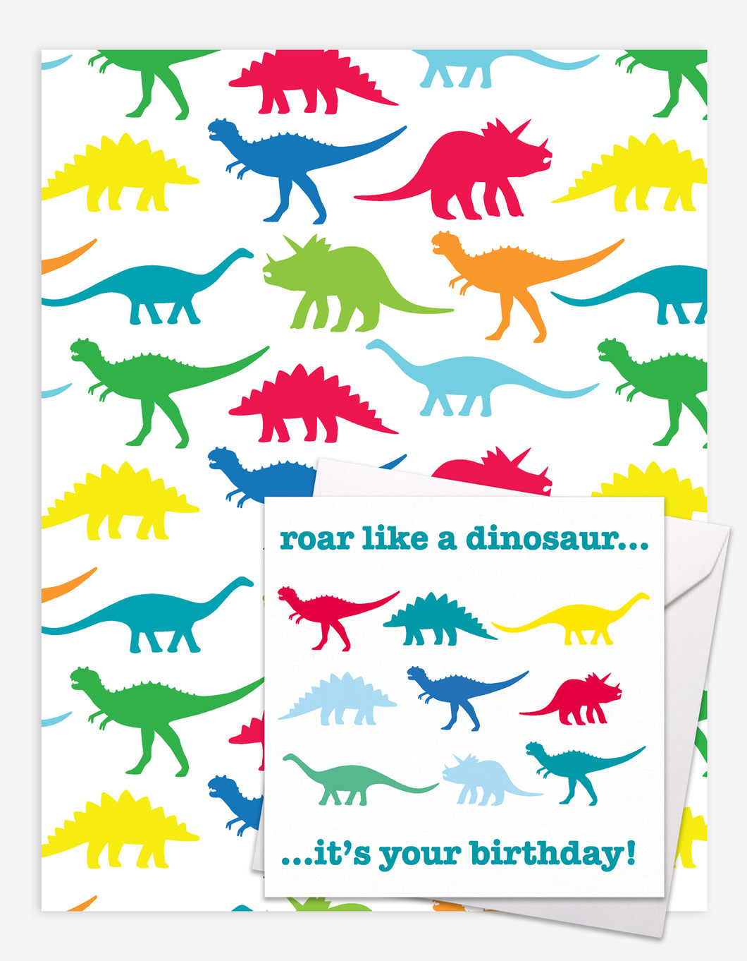 Dino Gift Wrap + Personalised Card