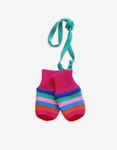 Girly Stripe Knitted Mittens