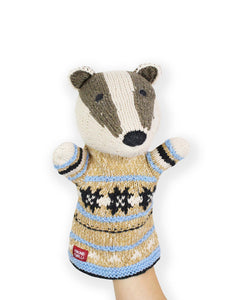Knitted Badger Hand Puppet