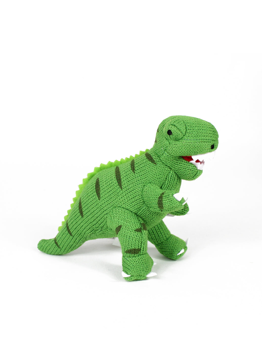 Knitted Green T-Rex Rattle