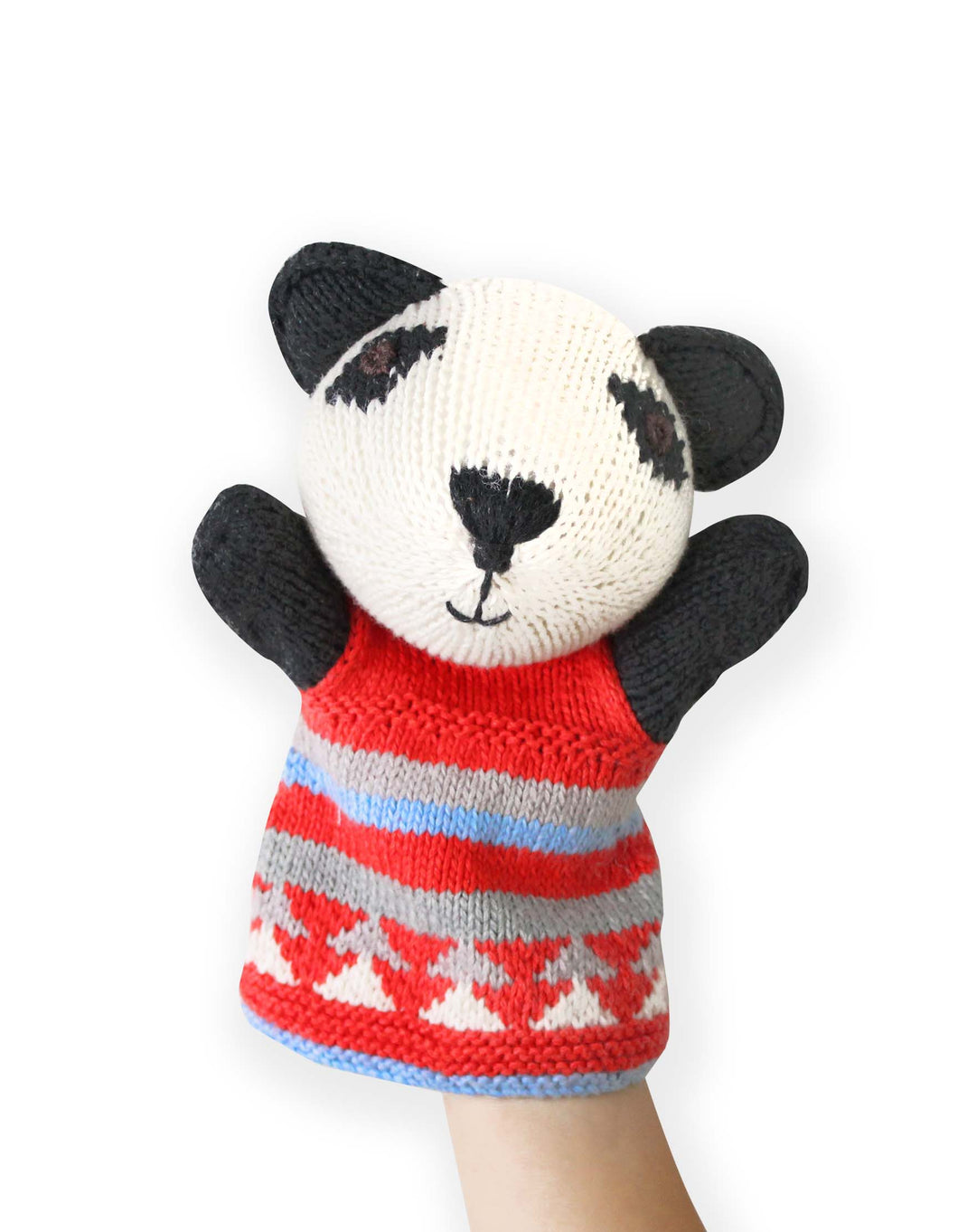 Knitted Panda Hand Puppet