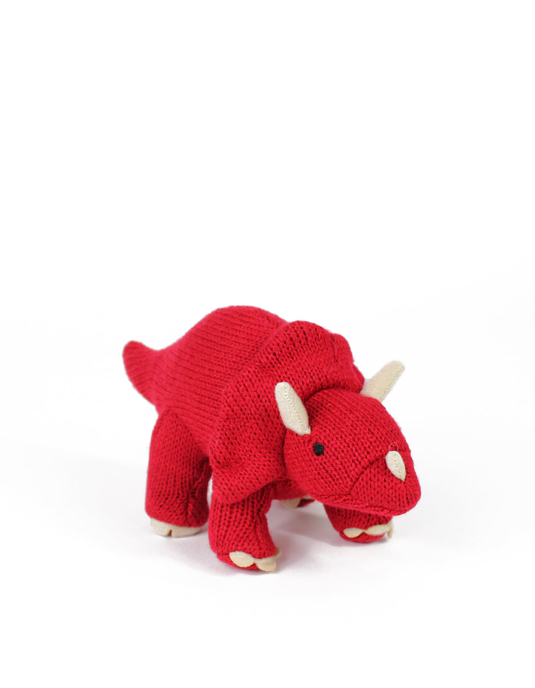 Knitted Red Triceratops Rattle