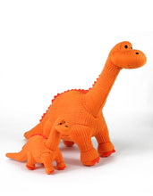 Load image into Gallery viewer, Medium Knitted Orange Diplodocus Soft Toy