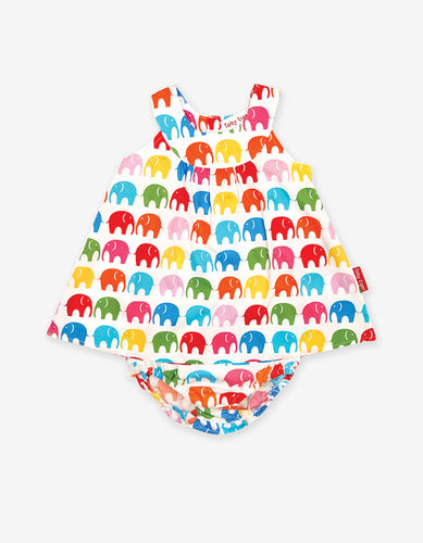 Multi Elephant Print Baby Dress Set