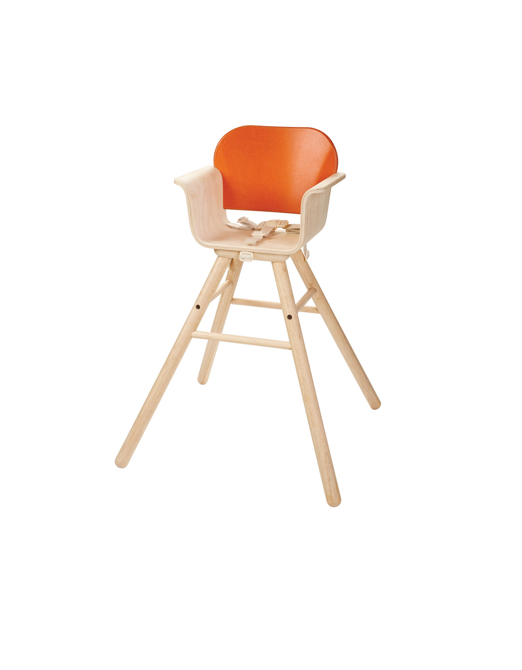 Orange Wooden High Chair