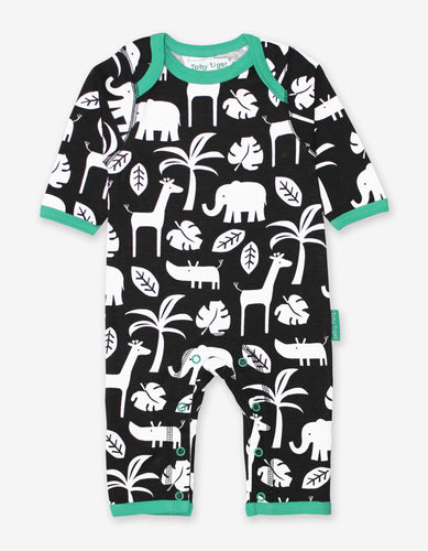 Organic Black Jungle Print Sleepsuit