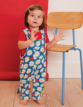Load image into Gallery viewer, Organic Blue Daisy Print Dungarees