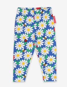 Organic Blue Daisy Print Leggings