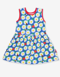 Organic Blue Daisy Print Summer Dress
