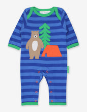 Load image into Gallery viewer, Organic Camping Bear Applique Sleepsuit