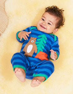 Organic Camping Bear Applique Sleepsuit