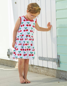 Organic Cherry Print Summer Dress