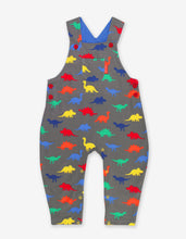Load image into Gallery viewer, Organic Dinosaur Print Dungarees