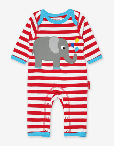 Organic Elephant Applique Sleepsuit