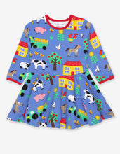 Load image into Gallery viewer, Organic Farm Print LS Skater Dress