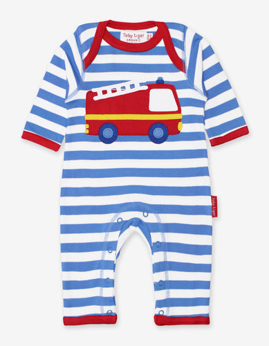 Organic Fire Engine Applique Sleepsuit