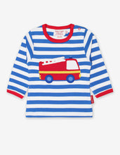 Load image into Gallery viewer, Organic Fire Engine Applique T-Shirt