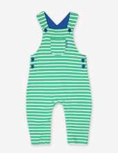 Load image into Gallery viewer, Organic Green Breton Stripe Dungarees