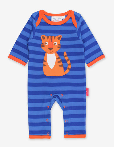 Organic Happy Tiger Applique Sleepsuit