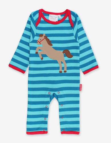 Organic Jumping Horse Applique Sleepsuit