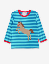 Load image into Gallery viewer, Organic Jumping Horse Applique T-Shirt
