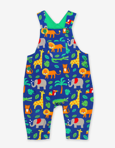 Organic Jungle Print Dungarees