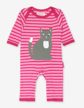 Load image into Gallery viewer, Organic Kitten Applique Sleepsuit