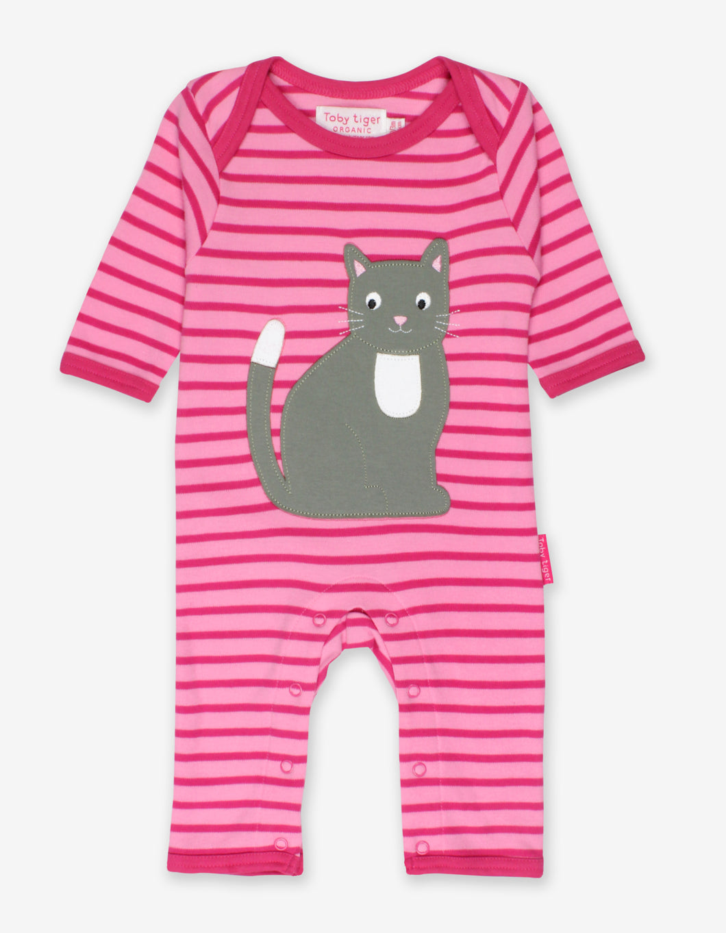 Organic Kitten Applique Sleepsuit