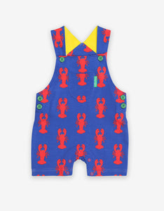 Organic Lobster Print Dungaree Shorts
