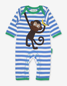 Organic Monkey Applique Sleepsuit